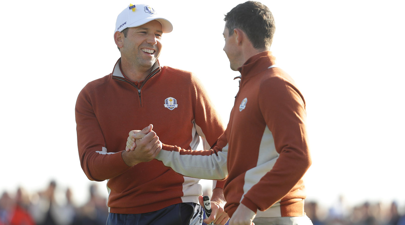 Sergio García and Rory McIlroy playing the Saturday fourball session (© Getty Images)