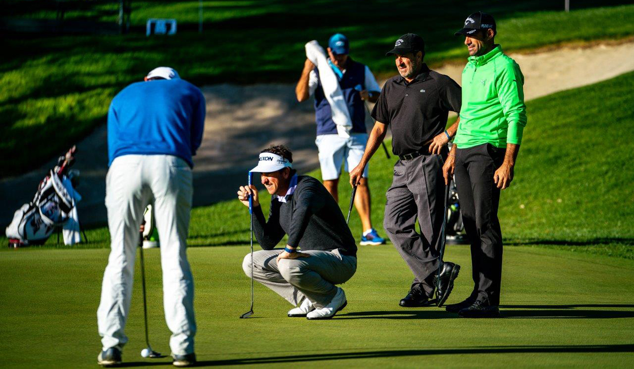 Olazábal, Quirós, Fernández-Castaño and Edoardo Molinari, during Tuesday's practice round (©Real Club Valderrama)