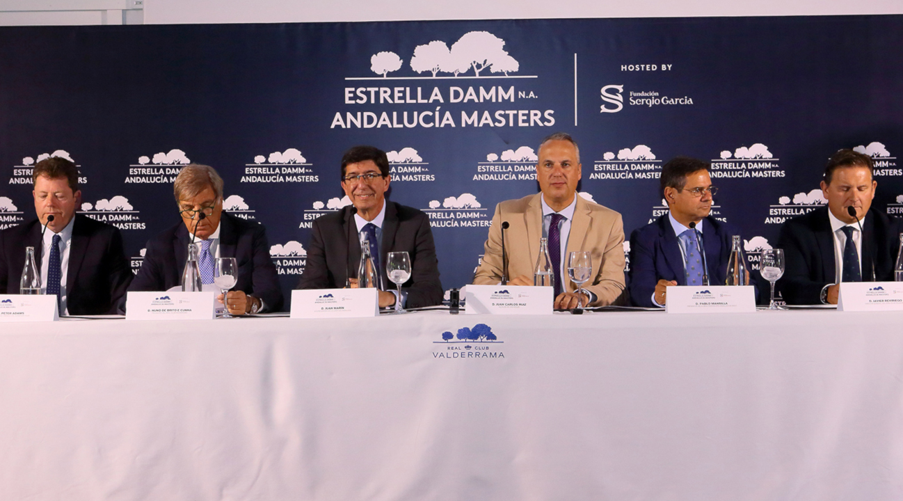 From left to right, Peter Adams, Head of Championship Management of the European Tour; Nuno de Brito e Cunha, President of the Real Club Valderrama; Juan Marín Lozano, Vice President of the Junta de Andalucía; Juan Carlos Ruiz Boix, Mayor of San Roque; Pablo Mansilla García, President of the Real Federación Andaluza de Golf; and Javier Reviriego Bóveda, General Manager of the Real Club Valderrama.
